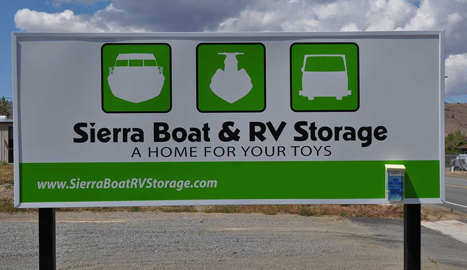 Sierra Boat and RV Storage welcome sign