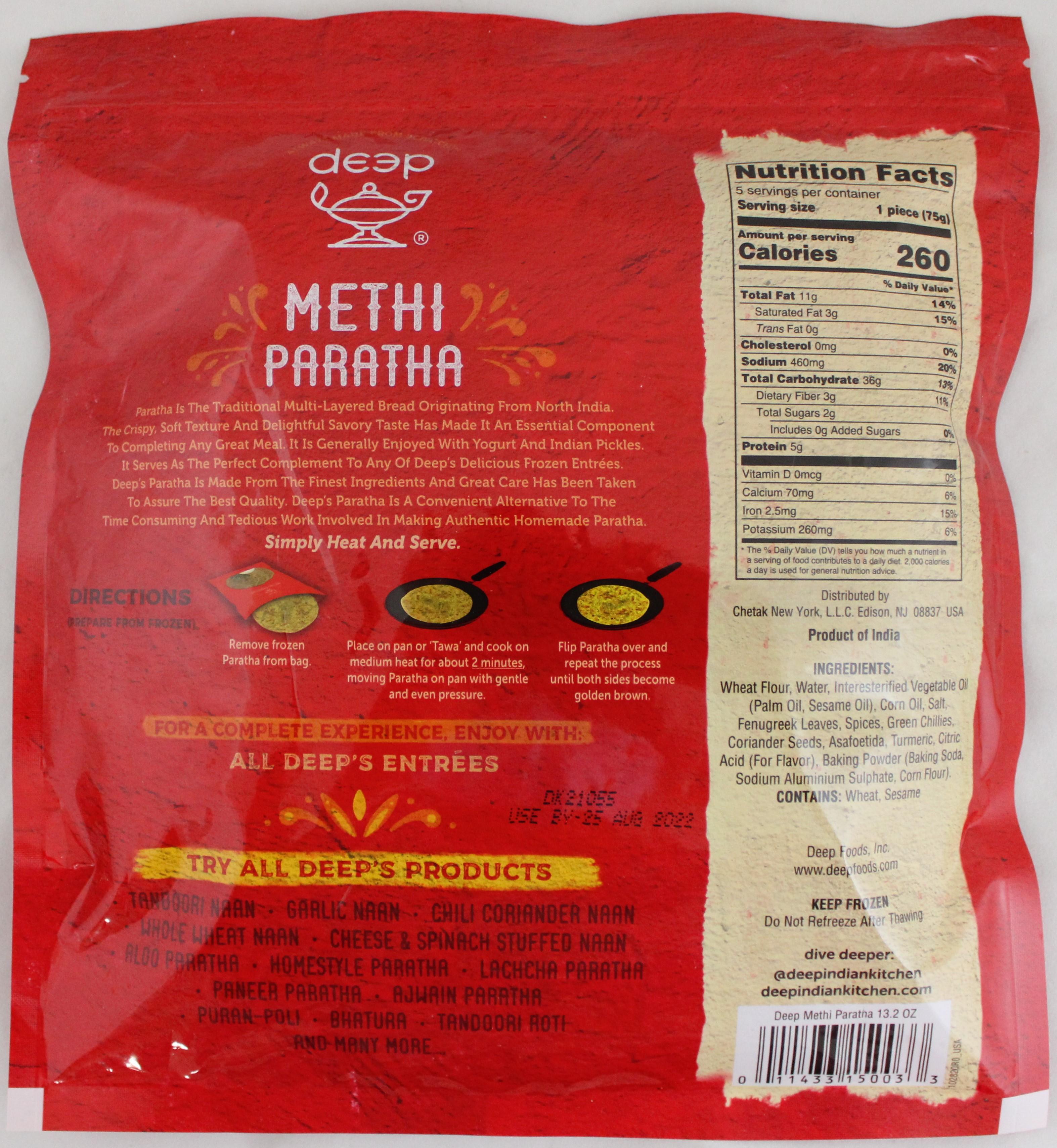 Homestyle Methi Paratha 5pcs-13.2oz