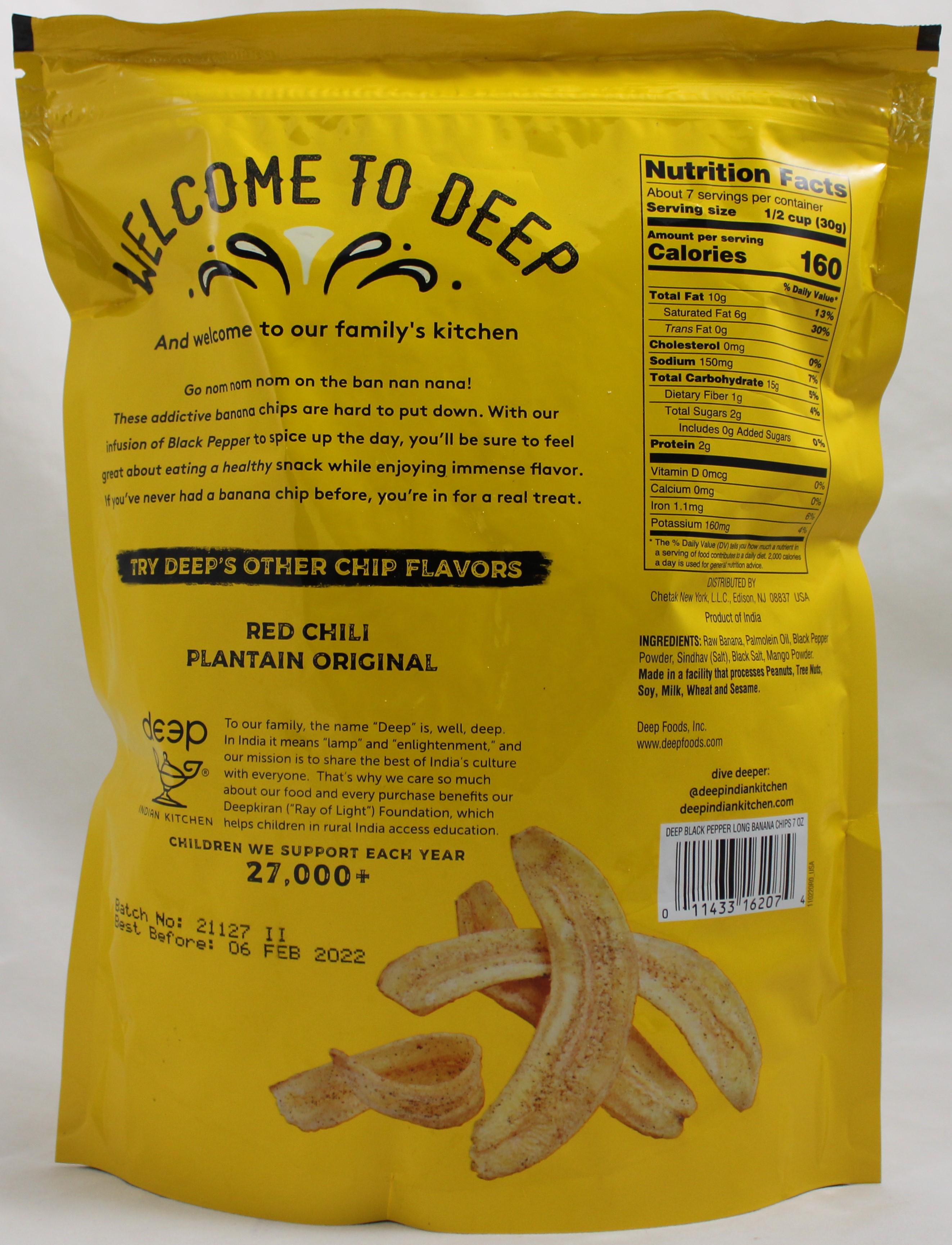Black Pepper Long Banana Chips 7 Oz