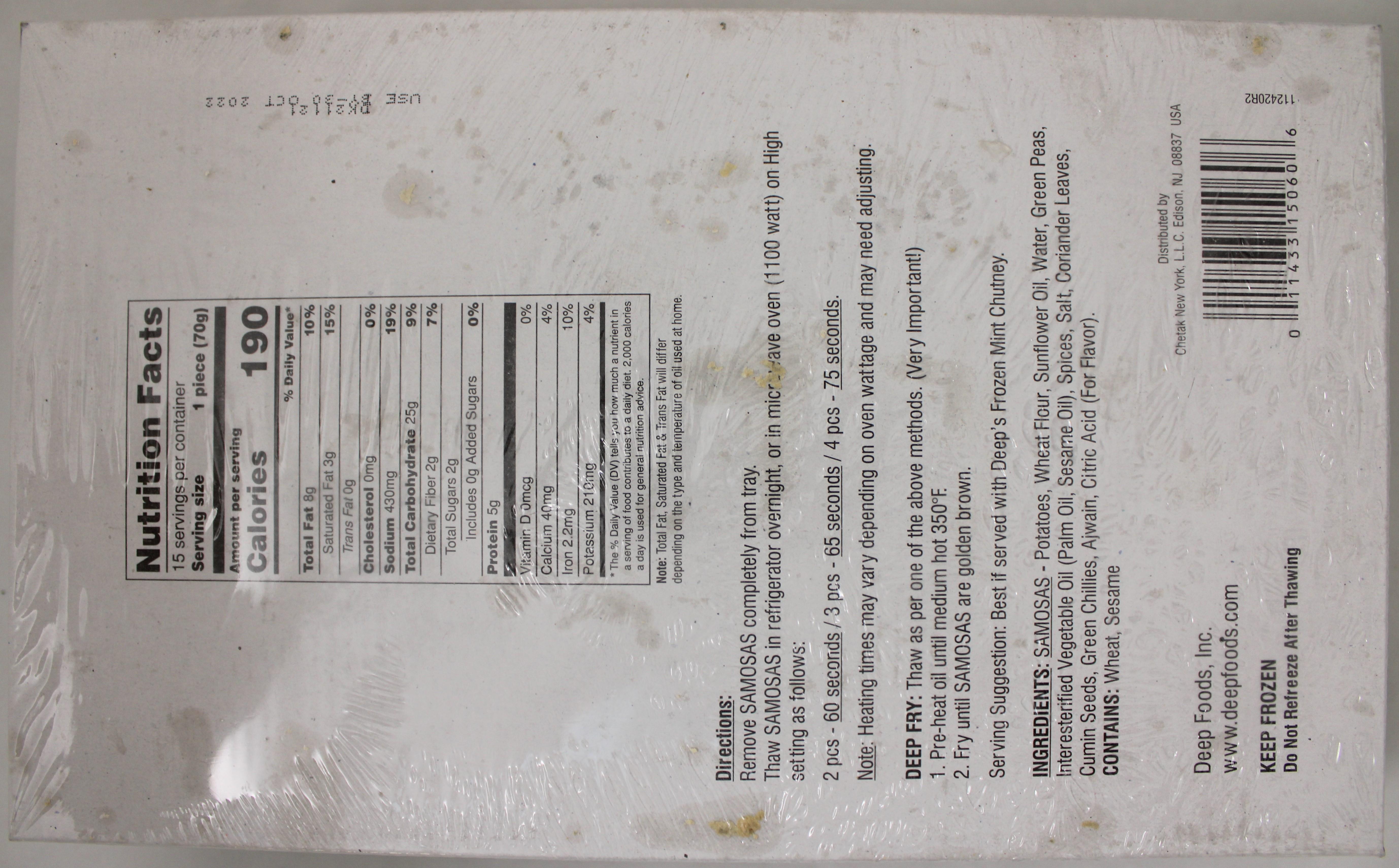 Jumbo Punjabi Samosa 15 pc /2.3Lb