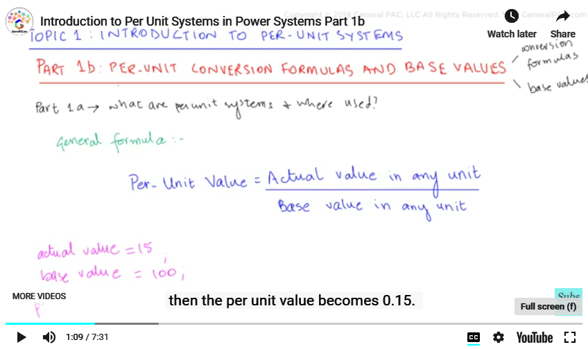 Introduction to Per-Unit Systems Part 1b | Per Unit System
