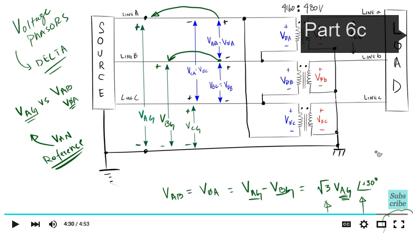 Introduction to the Delta Wye Transformer Part 6b | Transformers on open delta transformer connection diagram, 3 phase wye connection, star delta starter wiring diagram, 3 phase high leg delta transformer bank, 3 phase transformers connection drawings,