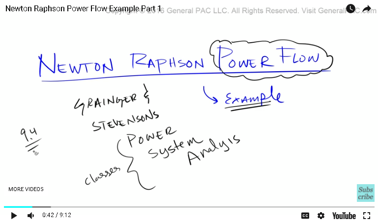 Newton Raphson Power Flow Example Part 1 | Newton Raphson