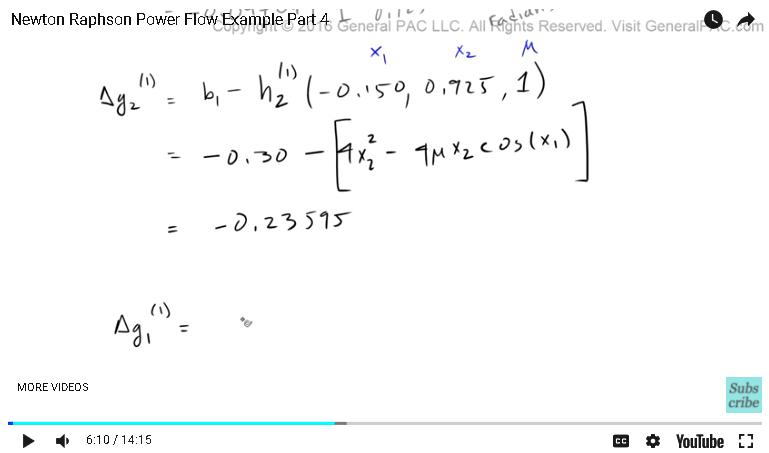 Newton Raphson Power Flow Example Part 4   Newton Raphson