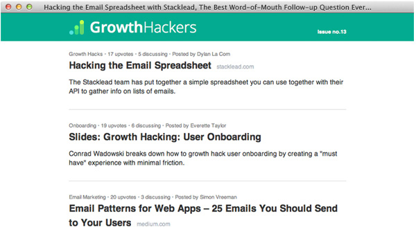 GrowthHackers Top Posts Email
