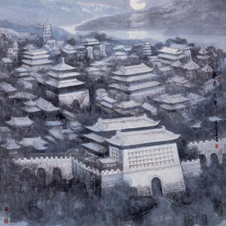 Chinese Mid-Autumn Festival. Old Imperial City. Classical Arts: Painting. Image 16A Image size:400x400px