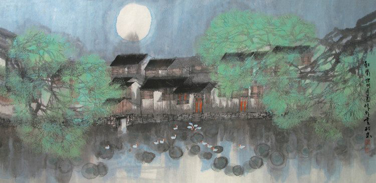 Chinese Mid-Autumn Festival. Classical Arts: Painting. Image 18A Image size:1280x623px
