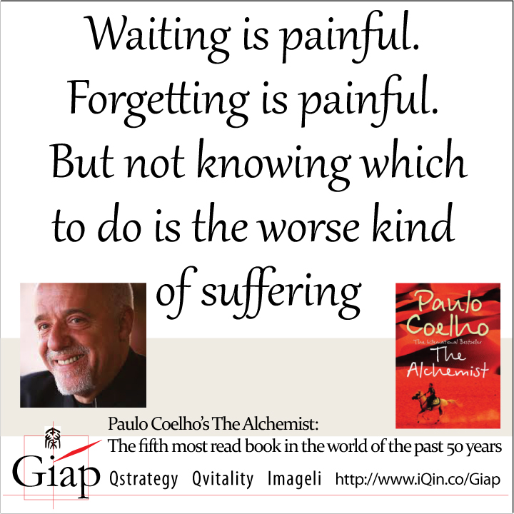 Paulo Coelho Quotes from Giap: Waiting is painful. Forgetting is painful. But not knowing which to do is the worse kind of suffering.  Image Size:720x720px