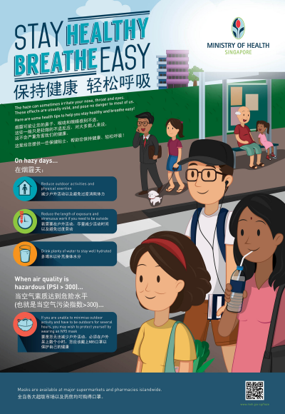 Haze Health Advisory: Stay Healthy Breath Easy. Singapore Ministry of Health. Infographic  Image size:400x58px