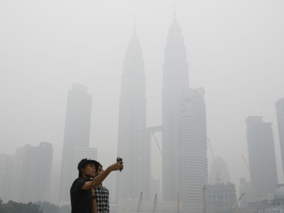 Haze in Kuala Lumpur, Malaysia caused by Indonesia forest fires. Image 1A. Image size:560x420px