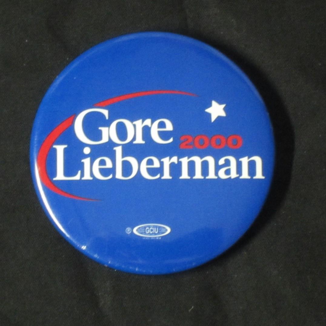 """2000 Al Gore Wisconsin 2 1//8/"""" Presidential Campaign Pinback Button"""