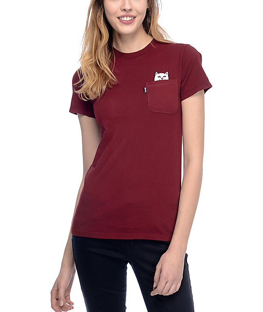 6349385718 ... t-shirt from RipNDip. The maroon tee features Lord Nermal flipping you  off as you move the left chest pocket down and the cotton construction  keeps you ...