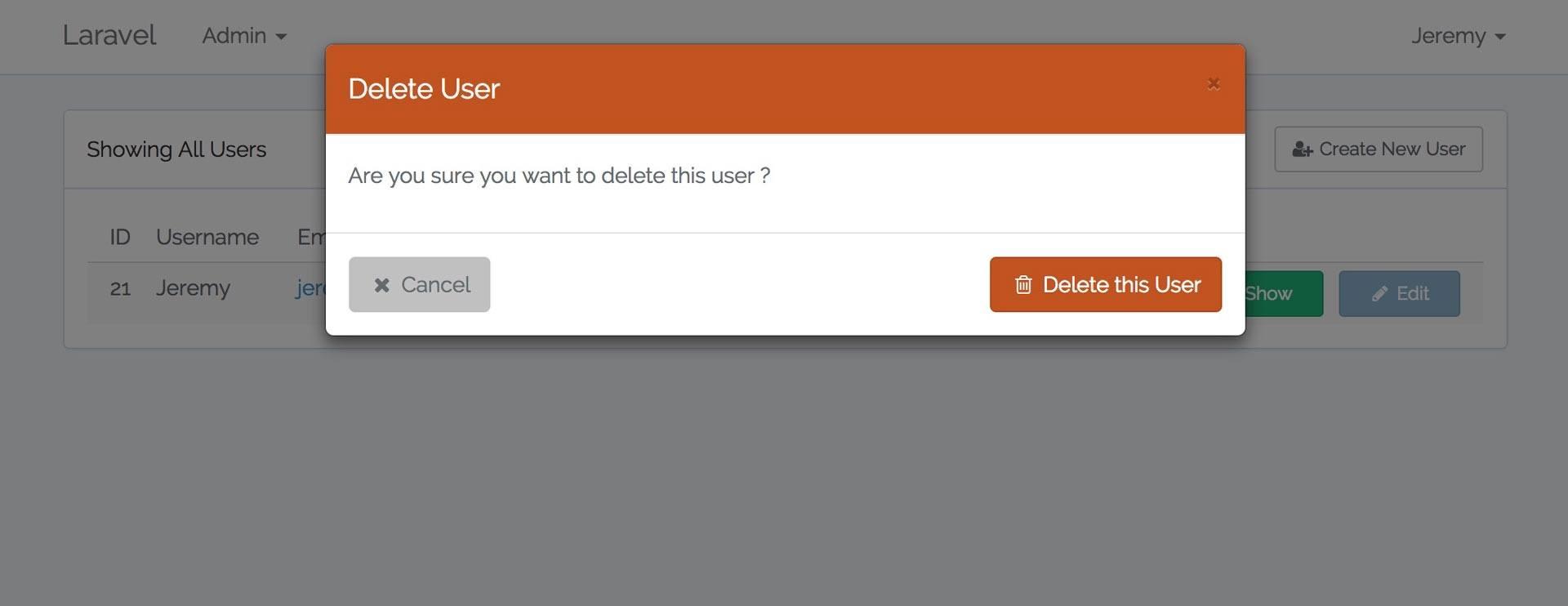 Admin Panel Delete User