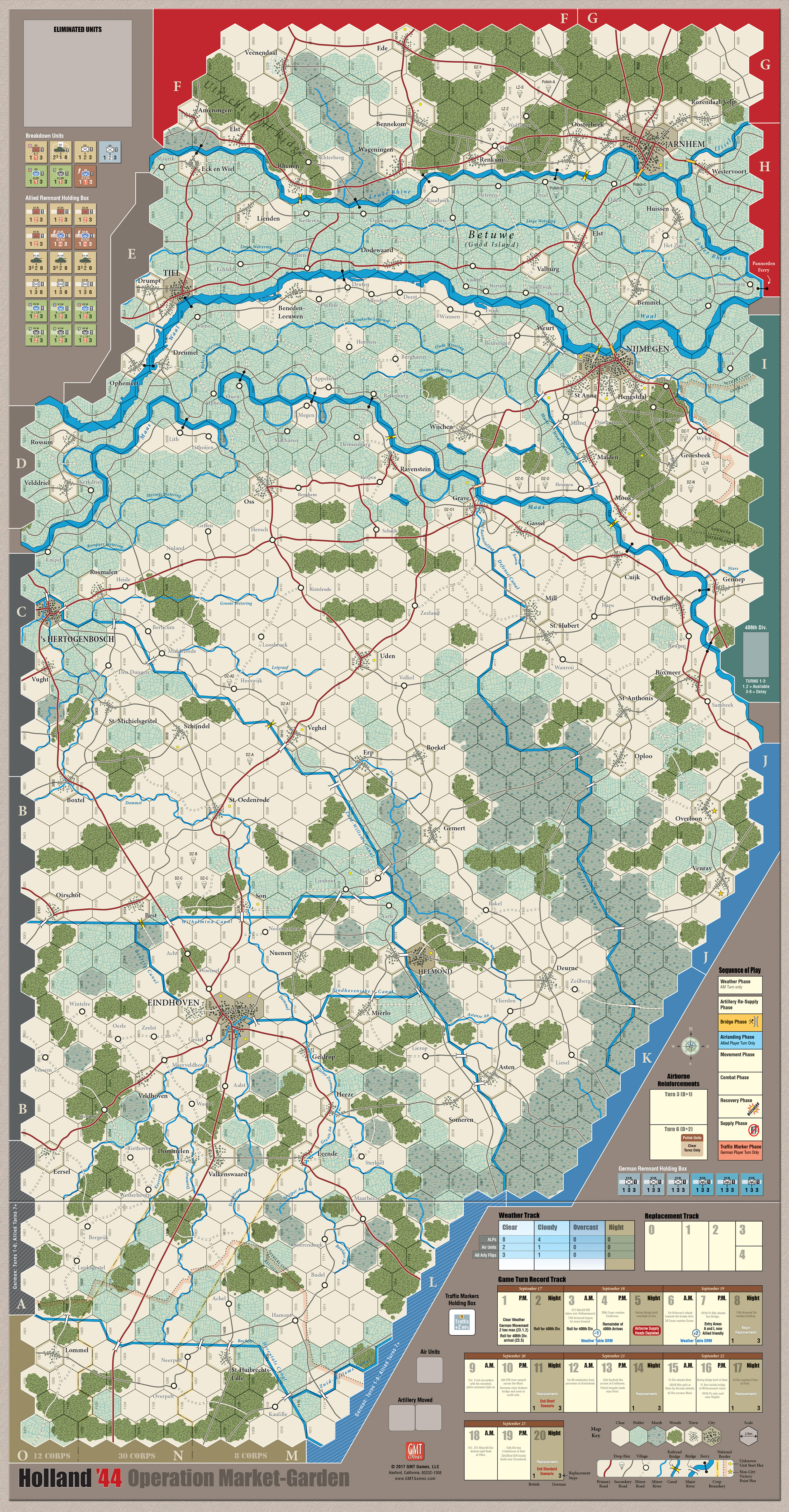 GMT Games - Holland '44 Mounted Maps on