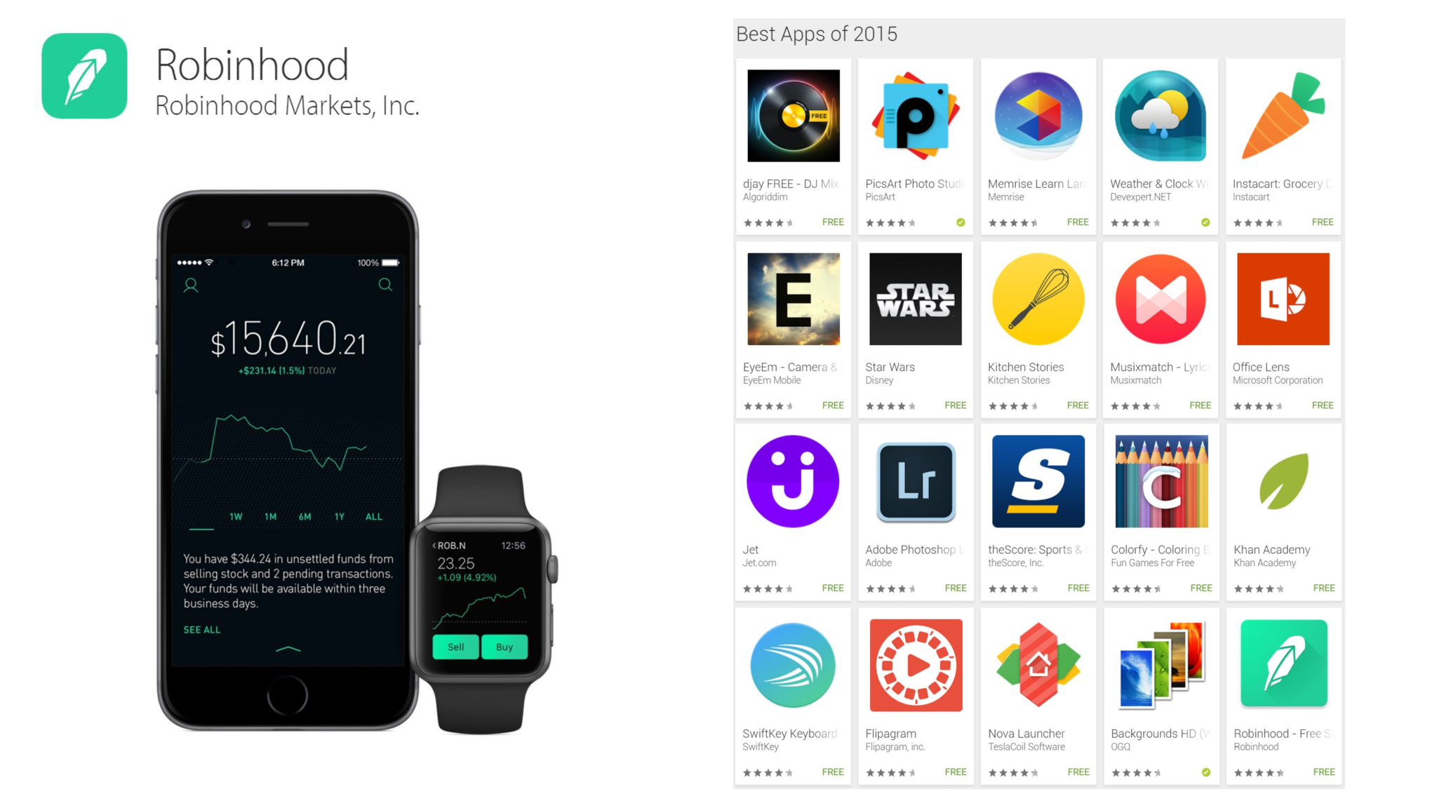 robinhood app google play and apple design award