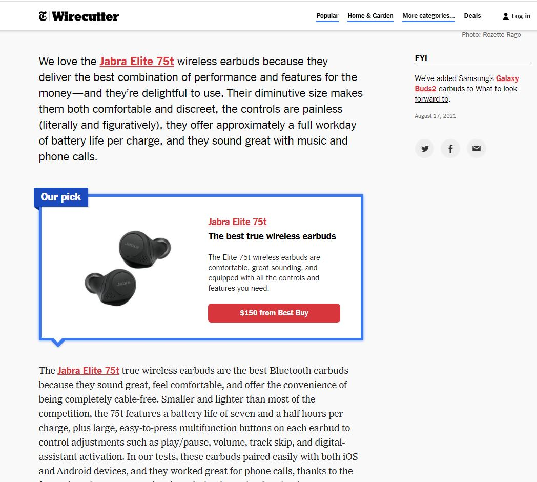 Summary box example in affiliate product review