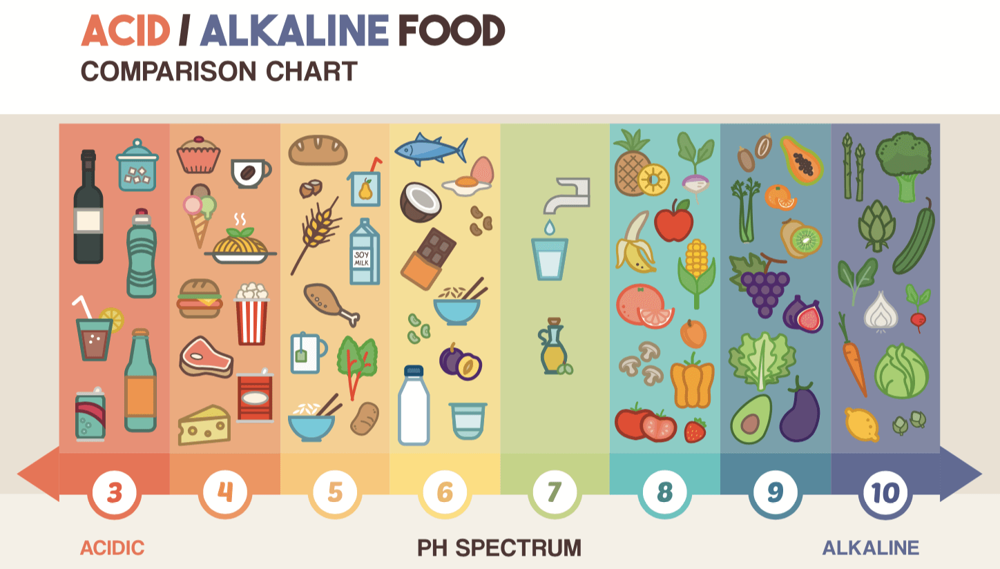 acid and alkaline foods comparison chart - ph spectrum