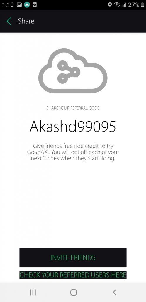 GoSpAXI's referral program screen