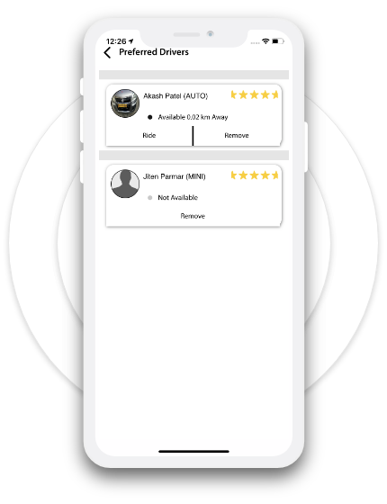 Preferred driver feature in CEO Cabs taxi app for riders