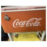 Coca- C0la Vintage Cooler On Wheels
