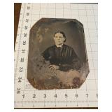 Large Early Tintype of a Woman in Black Dress