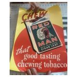 Vintage Redman Chewing Tobacco Poster Ad
