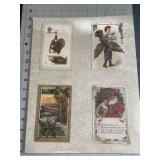 Lot of 4 on Board Holiday Postcards Santa Turkey