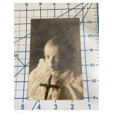 Wonderful Antique Postcard Baby with Cross