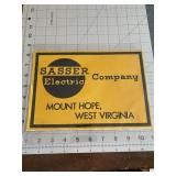 Sasser Electric Company West Virginia Decal