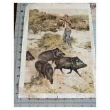 Nice old Boar Hunting Print Litho Mini Poster