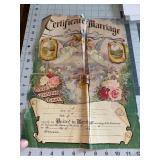 Beautiful Antique Certificate of Marriage Artistic