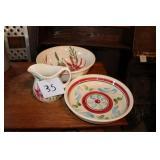 Pottery Pitcher & Bowls