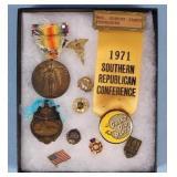 Group of Political, Fraternal, War Medals & Pins