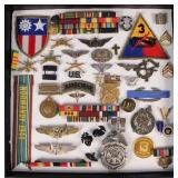 Cased Group of Military Medals, Ribbons, Pins