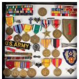 Cased Group of US Military Medals, Ribbons, Pins