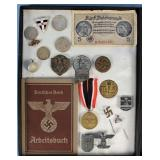 Collection of WWII Nazi Germany Currency, Pins