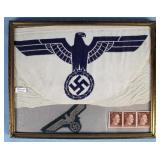 Small Nazi Eagle Flag, Patch & Hitler Stamps