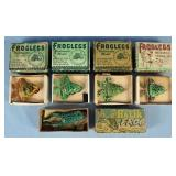 Five Mid 20th C. Frog Fishing Lures w/ Boxes