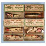 Group of Six Creek Chub Wooden Lures
