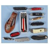 Group of Pocket Knives, Camp Knife, Kershaw, Etc.