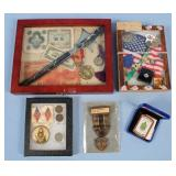 Group of Cased Currency, Medals, and Ephemera