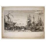 """Adrien Mangland """"Mediterranean Port"""" Etching"""
