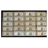 $28 Face Value Silver Certificates, $5 & $1 Note