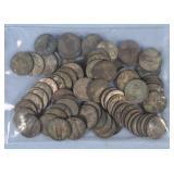 75 Wartime U.S. Nickels, 1942-1945, 35% Silver
