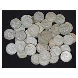 45 U.S. Franklin Half Dollar Coins, 90% Silver