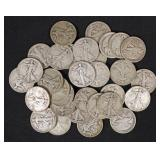 32 U.S. Walking Liberty Half Dollars, 90% Silver