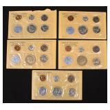 """5 U.S. Uncirculated """"P"""" Mint Sets, 1961-1964"""