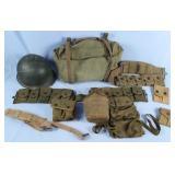 WWII U.S. Army Helmet, Ammo Belt, Cargo Bag, Etc.