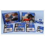 Seven Ertl New Holland, Ford Tractor Toys