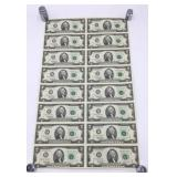 1995 Uncut Sheet of 16 $2 Bills
